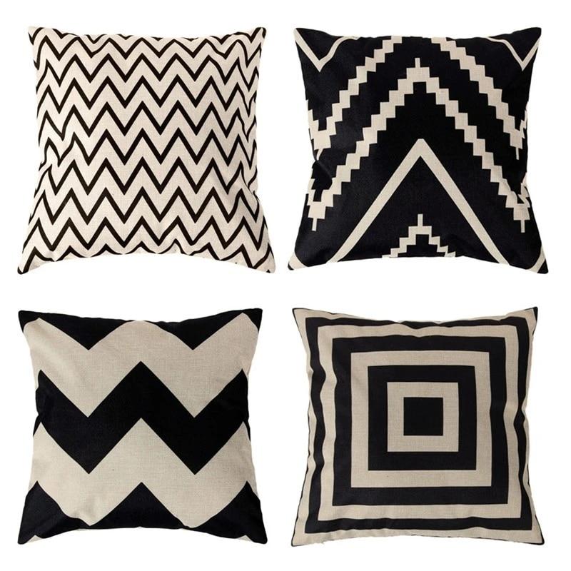 print geometric black and beige cushion cover mid century chevron pillow covers settee 18x18 cotton linen decor home almofada