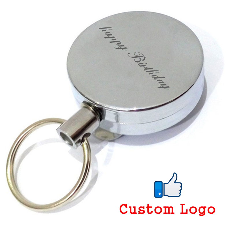 1pc Free Custom Logo Metal Retractable Pull Key Chain Clip Reel Badge Lanyard Name Tag Cards Badge Holder Reel Recoil Belt Clips