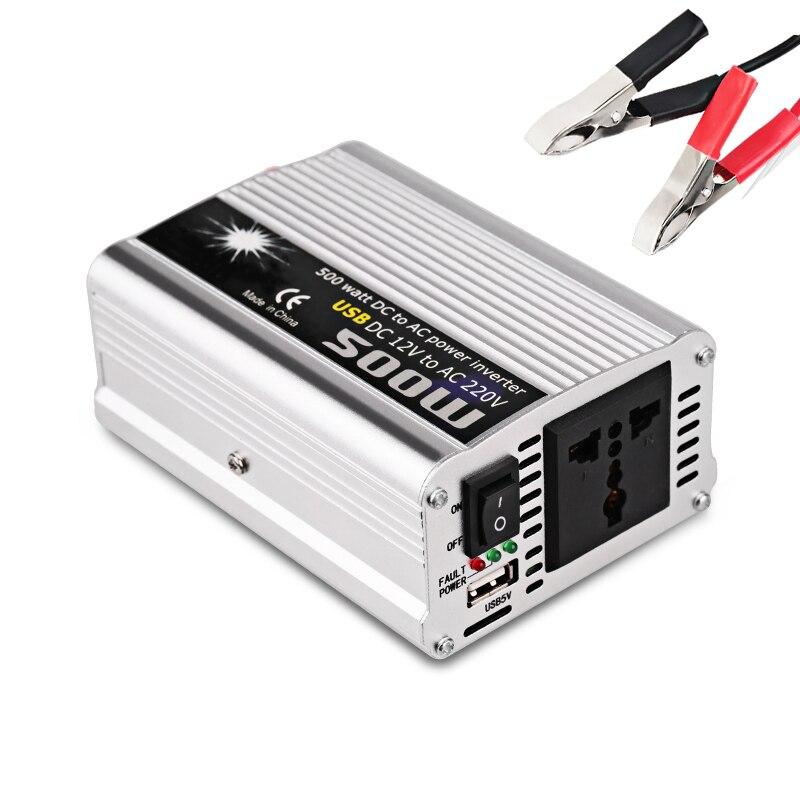 Auto Auto Inverter 12 v 220 v 500 w Con Il Caricatore USB Sigaretta Presa Accendisigari Adattatore di Alimentazione Inverter DC 12 v Convertitore di Potenza di Picco 1000 w