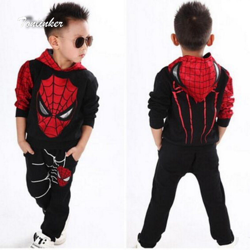 Tonlinker <font><b>Spiderman</b></font> Baby <font><b>Boys</b></font> Clothing Sets Suit For <font><b>Boys</b></font> Clothes Spring Spider Man <font><b>Costume</b></font> Cosplay Halloween carnival Birthday