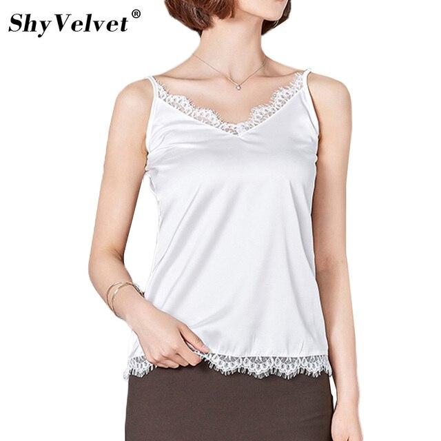 d2f597b01f4b46 Women Lace Camisole Camis Silk Slim Tank Tops Halter Top 2019 Sexy  Sleeveless Vest V-neck Female Roupas Solid White Black Grey