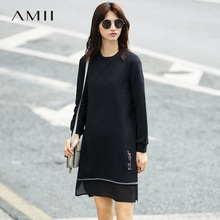 Amii Casual Women Minimalist Dress 2017 Embroidery Patchwork Female Dresses