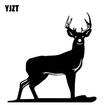 YJZT 16.4CM*16.6CM Deer Decoration Pattern Car Sticker Body Of Car Accessories Vinyl Decal Black/Silver C4-1978 image