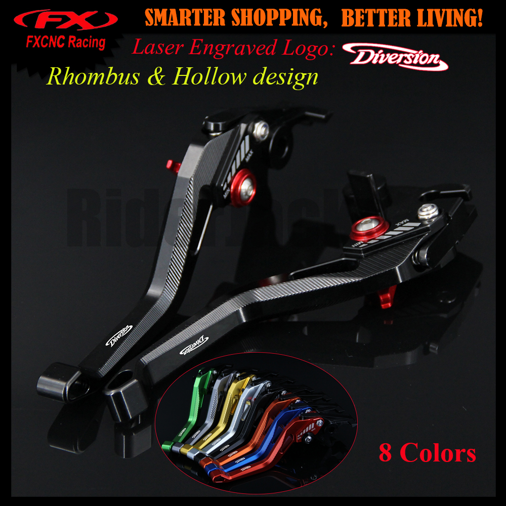 3D design (Rhombus Hollow) Black CNC Motorcycle Adjustable Brake Clutch Lever For Yamaha XJ6 Diversion 2009-2015 2012 2013 2014