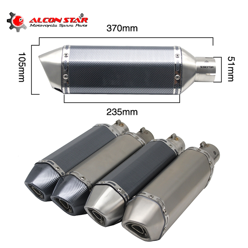 Alconstar 35 51mm Universal Motorcycle Akrapovic Exhaust Modified Muffler Pipe Scooter Pit Bike Motocross For R1