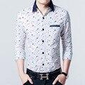 2016 новое прибытие мужская рубашка 100% Хлопок Мужские slim fit напечатаны футболки высокого качества с длинными рукавами рубашки мужчины