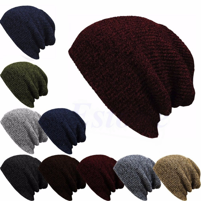 8acfef43096 Winter Casual Cotton Knit Hats For Women Men Baggy Beanie Hat Crochet Slouchy  Oversized Ski Cap Warm Skullies Toucas Gorros