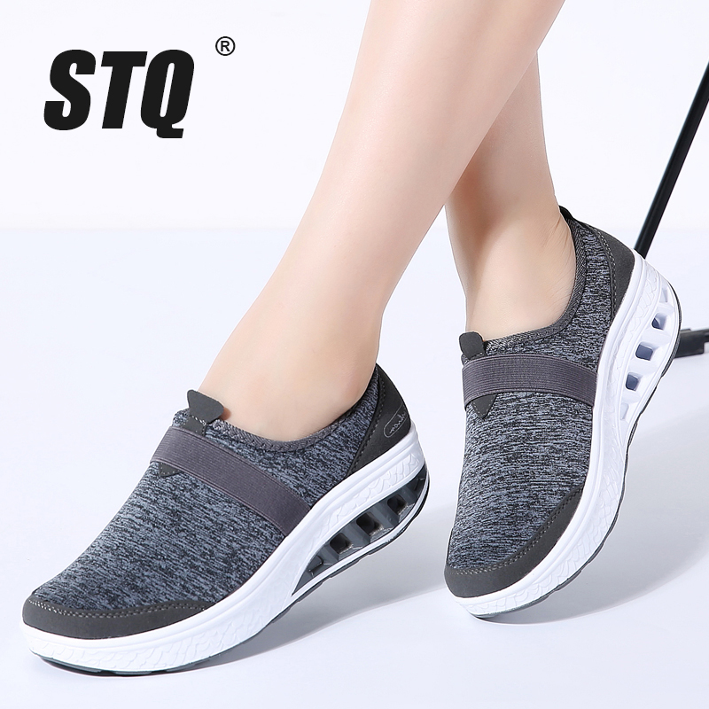 STQ 2020 Autumn Women Sneakers Shoes Flat Platform Shoes Women Breathable Mesh Casual Shoes Slip On Creepers Walking Shoes 7697