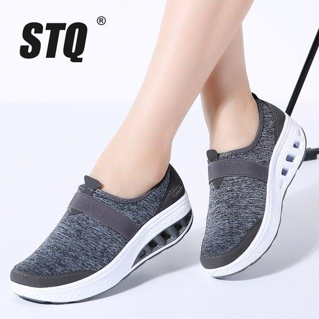 STQ 2020 sonbahar kadın Sneakers ayakkabı düz platform ayakkabılar kadınlar nefes örgü rahat ayakkabılar üzerinde kayma sürüngen yürüyüş ayakkabısı 7697