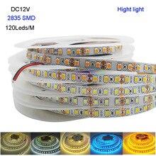 New Hight light 5M DC12V 2835 SMD 120 Leds/m IP20 Flexible LED Strip white/warm white/White/blue/Ice blue/golden yellow
