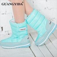 Plus Size 35 42 Women Waterproof Snow Boots Snowflake Cotton Super Warm Shoes Women Winter Platform