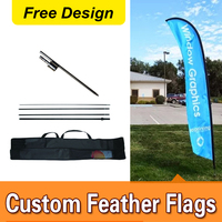 Free Design Free Shipping Single Sided In ground Spike Feather Flag Signs Advertising Sail Flag Banners Marketing Flags
