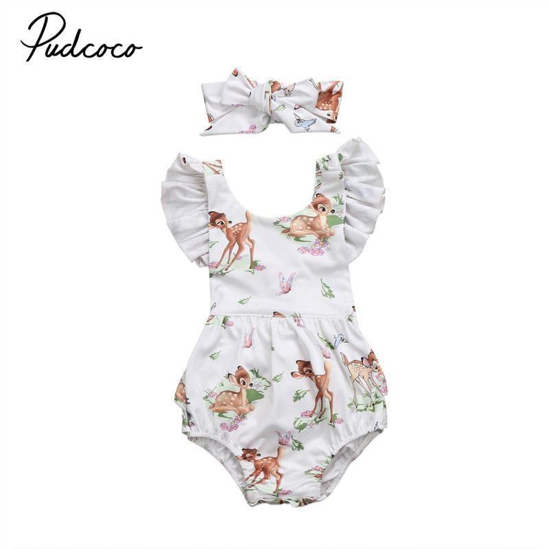 Newborn Toddler Girls Bodysuit Cute Infant Baby Girls Printed Deer Bodysuit With Headband Sleeveless Summer Girls Clothes 0-18M