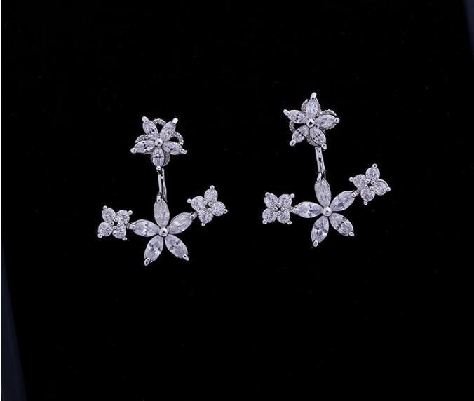 Fashion Earring Zirconia Crystal Stone Ear Jackets Jewelry Leaf Ear Stud Earrings For Women Fashion Party Boucle Doreille Aros