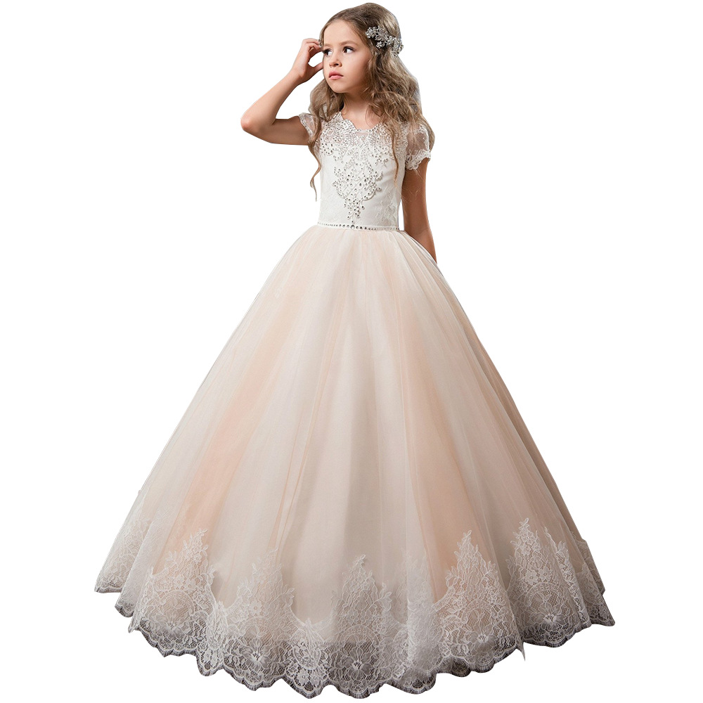 Champagne V-neck Beading Lace   Flower     Girl     Dresses   For Wedding With Bow Long   Girls   First Communion Gowns Special Occasion   Dresses