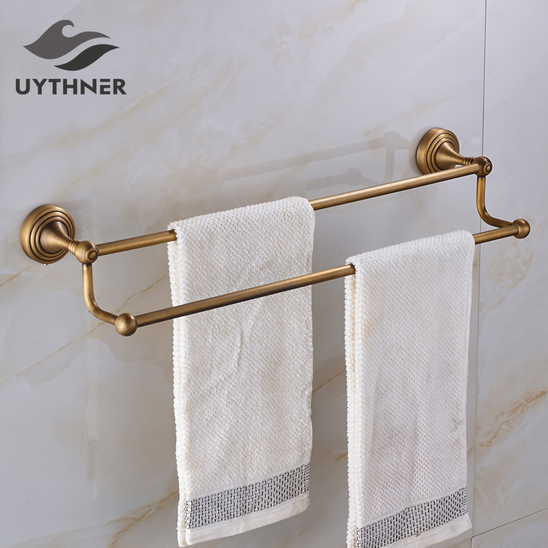 Solid Brass Bathroom Double Towel Bars Towel Holder Antique Brass Bathroom Accessores Wall Mounted