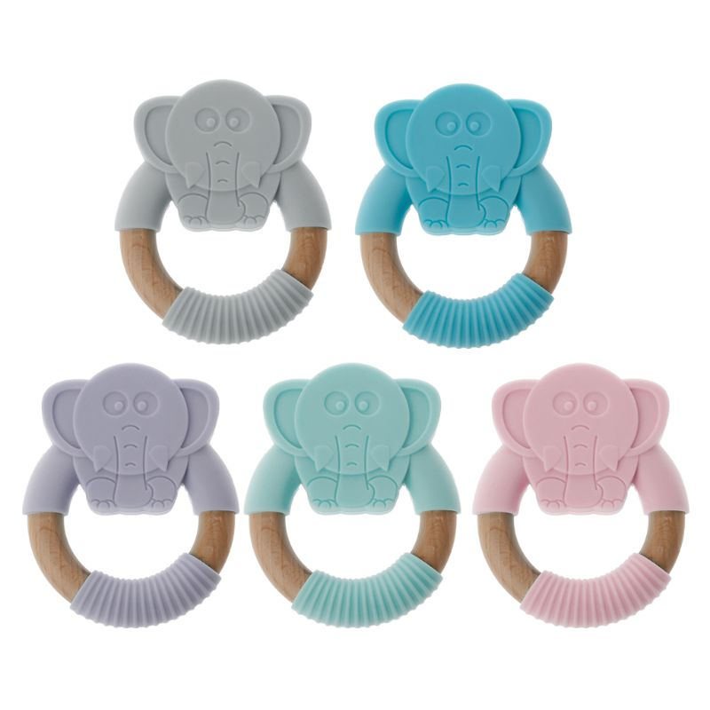 Ootdty Elephant Baby Silicone Teether Safe Toddle Organic Wood Chew Toys Teething Ring Gift For Infant Baby Chewing