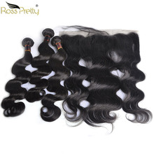 Ross Pretty Remy Brazilian Body Wave Hair bundles with frontal Baby Human ear by Lace Frontal Bundles