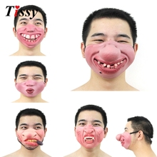 Ny! 1PC Funny & Scary Of Half Face Clown Latex Masker För Cosplay Kostym / Halloween Party Decoration Supplies