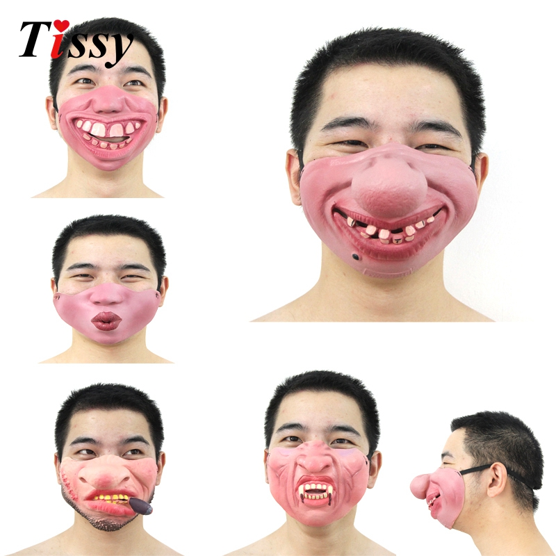 New!1PC Funny&Scary Of Half Face Clown Latex Masks For Cosplay Costume/ Halloween Party Decoration Supplies