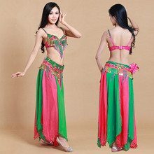 Bellydance oriental Belly Indian gypsy dance dancing costume costumes clothes bra belt chain scarf ring skirt dress set suit 289