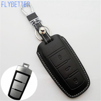 FLYBETTER Car Genuine Leather Bag Remote Control Car Keychain Key Cover Case For Vw CC Magotan