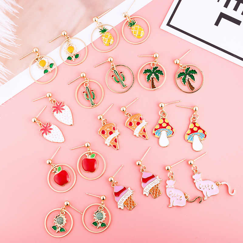 JCYMONG New Cute Colorful Fruit Stud Earrings for Women Girl Fashion Gold Color Circle Pendant Earrings Jewelry Gift  Wholesale