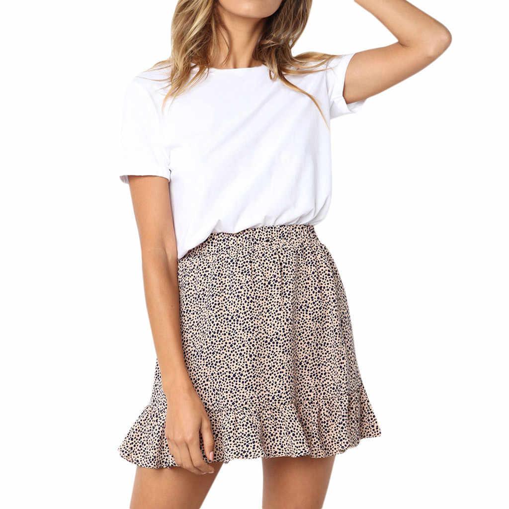 Letnie spódnice damskie kobiety dorywczo Retro wysokiej talii wieczór Party krótki drukuj spódnica mini faldas mujer moda 2019 # N45
