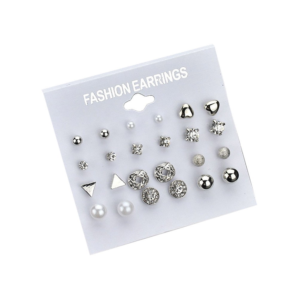 GEMIXI Fashion Earrings Ear Ring Set Combination Of 12 Sets Of Heart-shaped Earrings 4.6