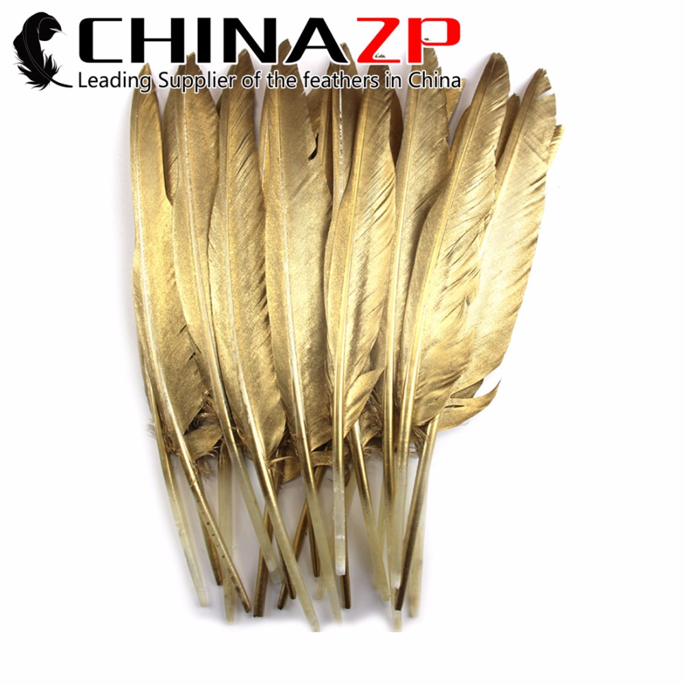 CHINAZP Hand Painted Goose Feather 50 Pieces Per Bag Bulk Sale Smooth Gold Dipped Feathers for Craft Sparkle Party Decoration