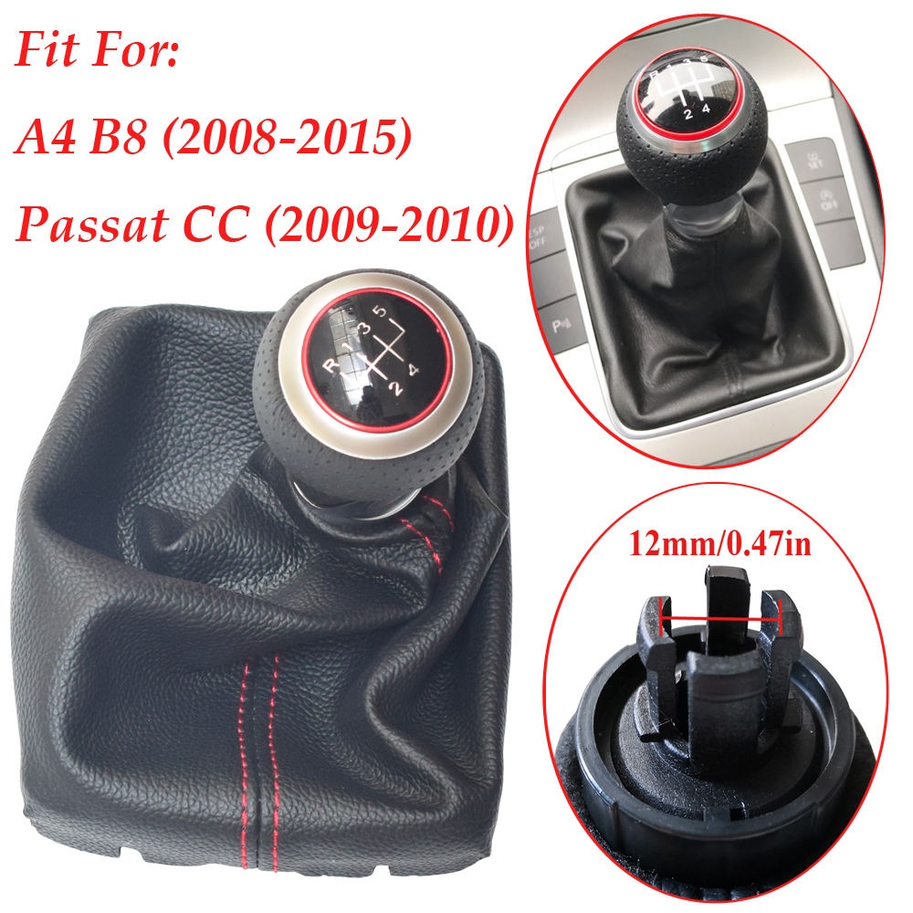 The Tuning-Shop Ltd Fits Audi A4 S4 B8 2008-2015 Shift Boot Custom Made Shift Boot Black Genuine Italian Leather With Black Stitching