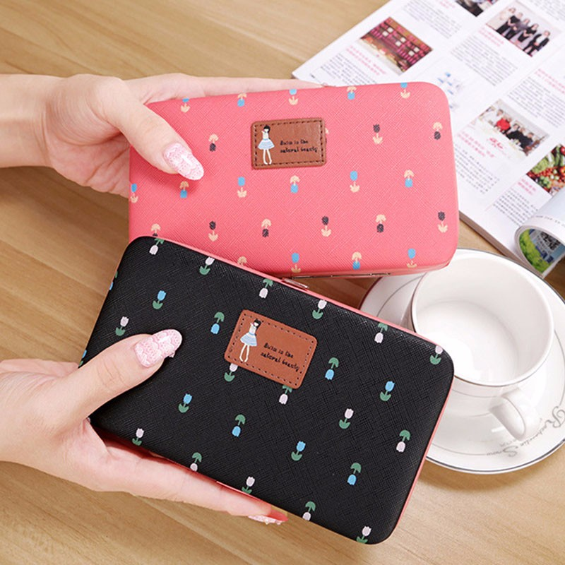 2017 Women Character Hasp Pencil Wallet Mobile Phone Bags Long Purse Phone Card Holder Girls Organizer Wallet New style Fashion casual weaving design card holder handbag hasp wallet for women