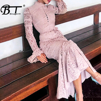 Beateen 2019 New Fashion Sweet Casual Lace Maxi Dresses Pink Flare Long Sleeve Spring Embroidery Floral