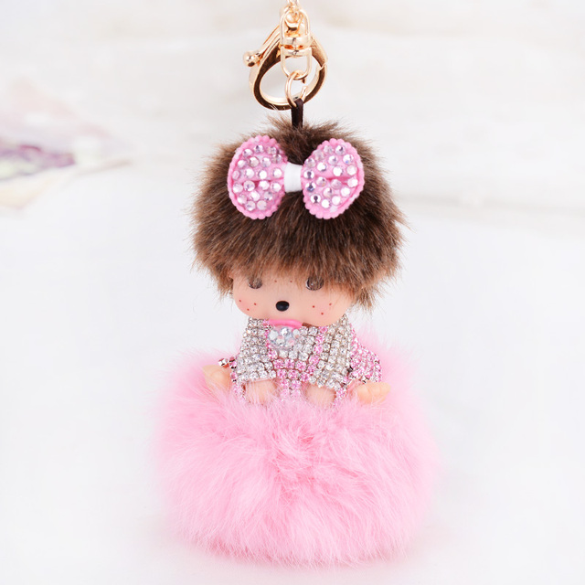 Chaveiros Personalizado Cute Monchichi doll Keychain Sleutelhanger Rhinestone Rabbit Fur Ball Pom Pom Keychain Women Key Holder