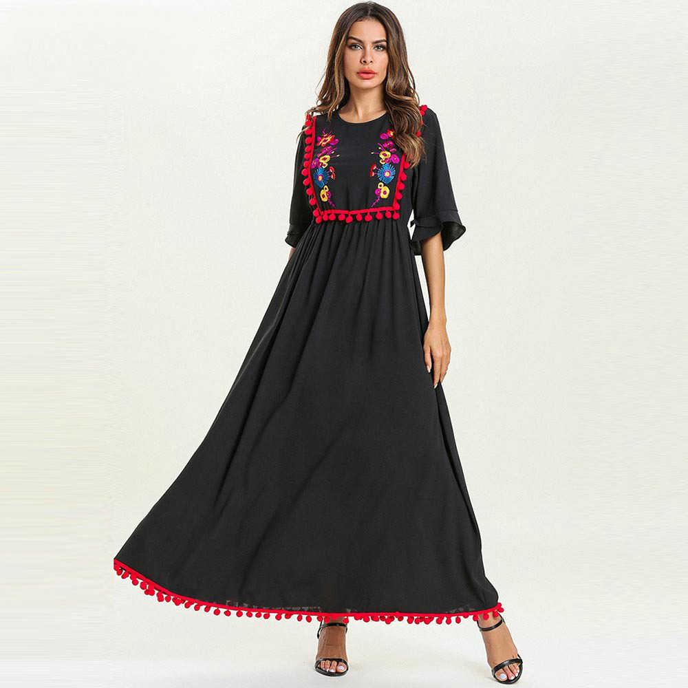 5811fbe01b8a Large Size Black Dresses Floral Embroidered Red Ball Decorative High Waist  Muslim Long Dress Elegant Women