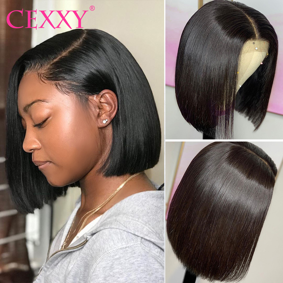 Cexxy 13x4 Lace Front Human Hair Wigs Brazilian Remy Hair 13x6 Short Bob Wig With Pre Plucked Hairline With Baby Hairs(China)