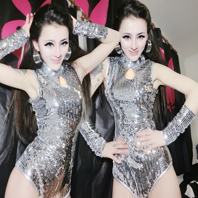 Nightclub Female Singer Sexy Bar Lead Dance Silver Sequins Jumpsuit Steel  Pipe Jazz Dance Costume DS Costume rave outfit hmong fe40a04e7a70