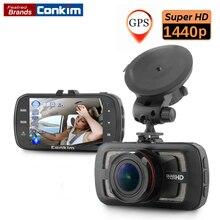 Conkim Видеорегистраторы для автомобилей Камера Ambarella A12 чип автомобилей Камера видео Регистраторы 178 градусов полный HD2560 * 1440 P Cam GPS Logger HDR ночь vison
