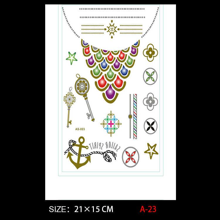 2017 sprzedaż bezpośrednia nowa biżuteria naszyjnik Body Art złoty naklejki z tatuażami tymczasowe Flash jednorazowe indianie kotwica