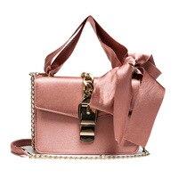2017 Famous Designer Mochila Silk Stripes Ribbon Bow Handbag Velour Shoulder Bag Metal Chain Lock Pochette