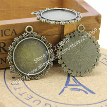 10pcs/lot Vintage Metal Round Cabochon Settings 30mm drill 1mm Antique Bronze Jewelry Blanks Fit Pendant Making T0008