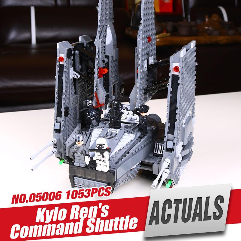 ФОТО LEPIN 05006 Hot Sale 1053pcs Star Wars Kylo Ren Command Shuttle Educational Building Blocks Kid's Toys compatible Toys
