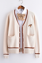 Thick Almond color Fawn embroidery JK uniform cardigan sweater
