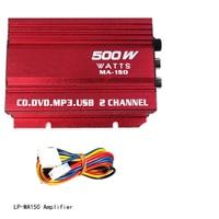 Digital MP3 Red 65W Hi Fi Stereo Connection Car Audio Speaker Amp Radio RCA Low Distortion 12V Mini LP MA150 Amplifier
