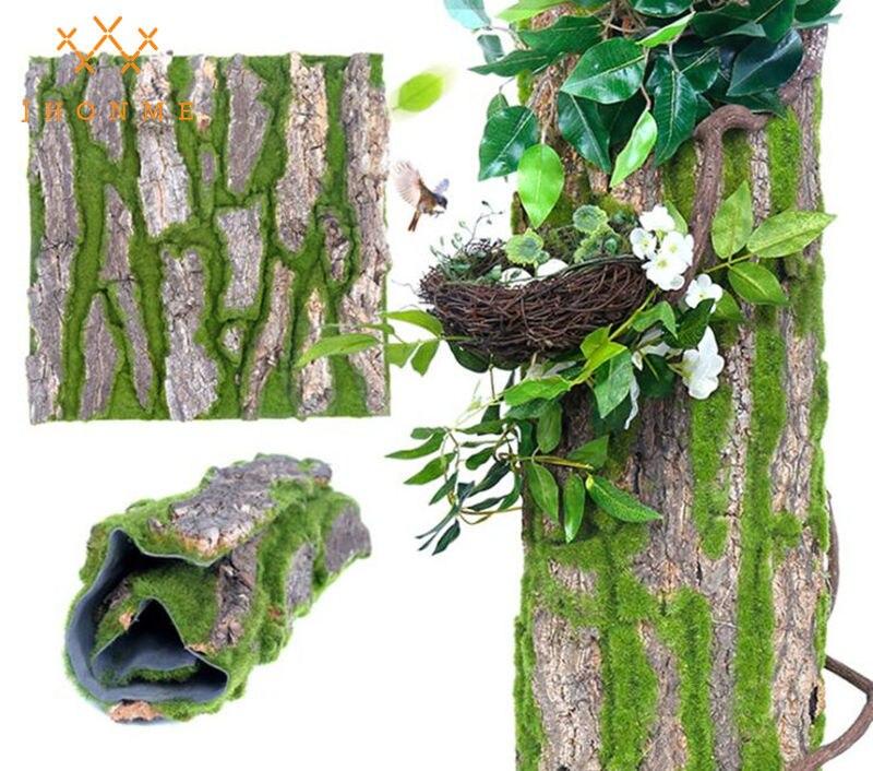 30x50 Cm Secchi Reale Pine Tree Bark Piantati Con Muschio Artificiale Per Interni Tubo Di Acqua Pilastro Dell'involucro Di Copertura Pet Decorazione Della Casa