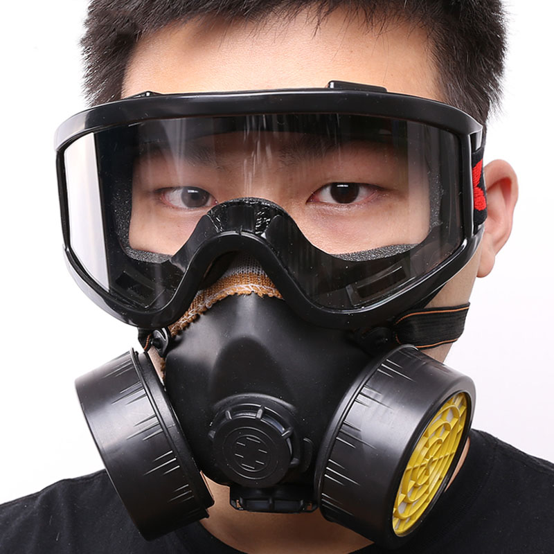 Respirator gas mask chemical protective mask +goggles activated carbon anti-dust poison pesticide spray painting formaldehyde new safurance protection filter dual gas mask chemical gas anti dust paint respirator face mask with goggles workplace safety
