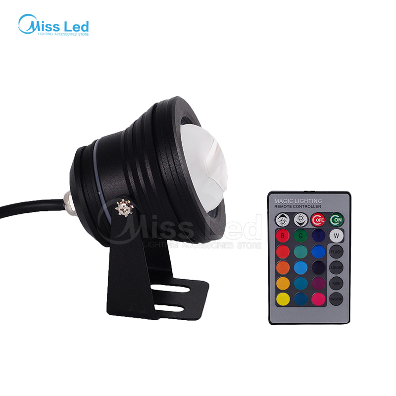 Express 10W AC85-265V LED Underwater Floollight RGB waterproof Flood Llight Pool Lake outdoor with Convex Glass Black