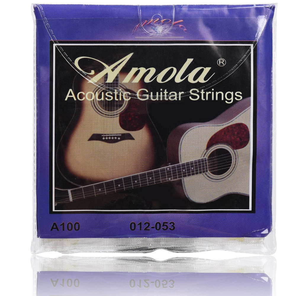 6 strings Amola 010 012 011 Acoustic Guitar Strings Wound Guitar Strings a110 a120 a100 amola 009 010 regular light gauge nickel alloy wound electric guitar strings e1300