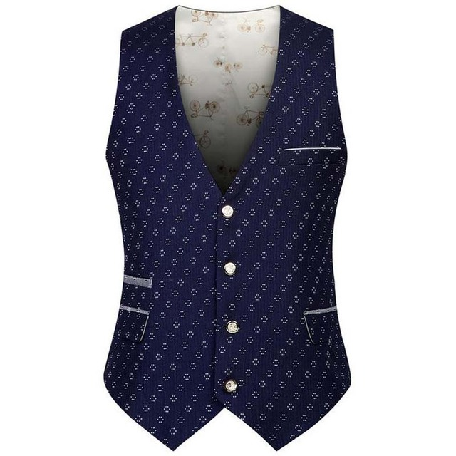 New Fashion Autumn Suit Vest Man's Leisure Printing Vest Slim Render Vests Men Work Tops Polyester Blue Black XXL XXXL
