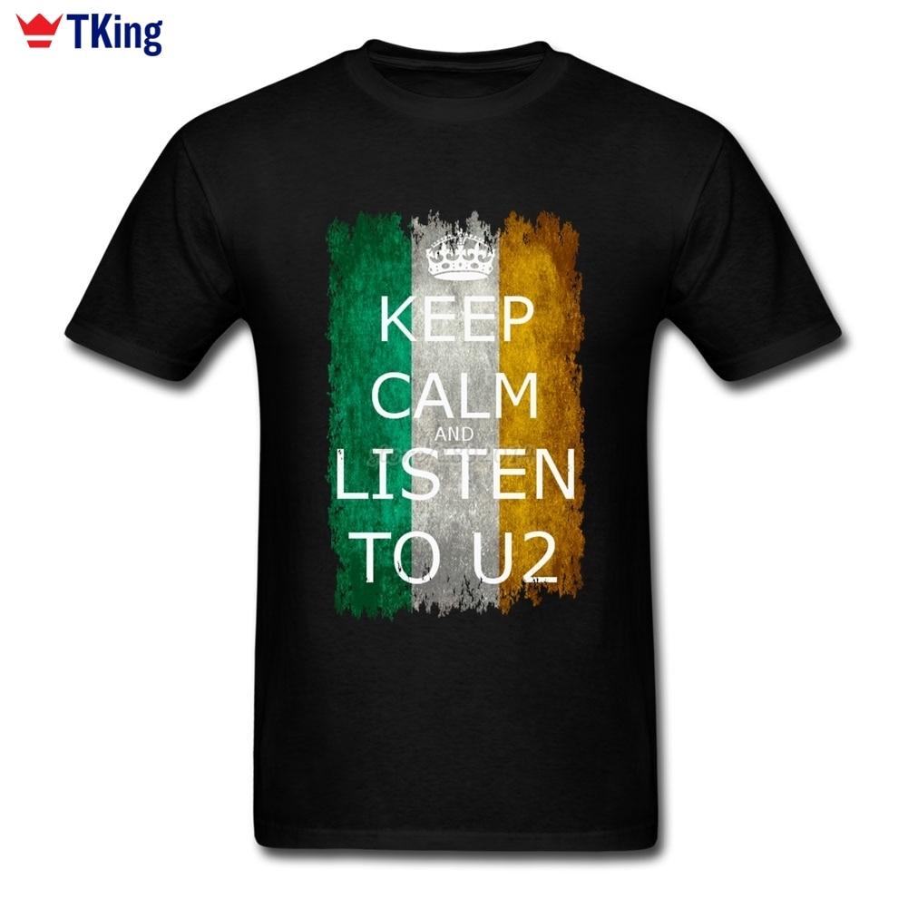 Oansatz Baumwolle Kurzarm U2 T-shirt Irland Flagge T-shirt männer 2017 Neue Homme...